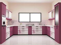 wandgestaltung küche wandfliesen weißer boden rosa küchenschränke