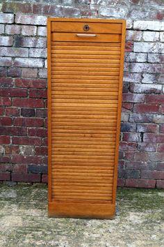 French Oak Single Tambour Cabinet 1940s
