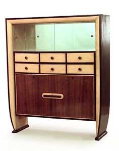 Italian rosewood and parchment cabinet with ebonized trim and 2 sliding glass top doors and 2 large doors at bottom with 6 small drawers (att: OSVALDO BORSANI)