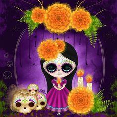 Catrina by Zepollita on deviant ART Fete Halloween, Halloween Crafts, Halloween Decorations, Sugar Skull Art, Sugar Skulls, All Souls Day, Day Of The Dead Skull, Candy Skulls, Halloween Wallpaper