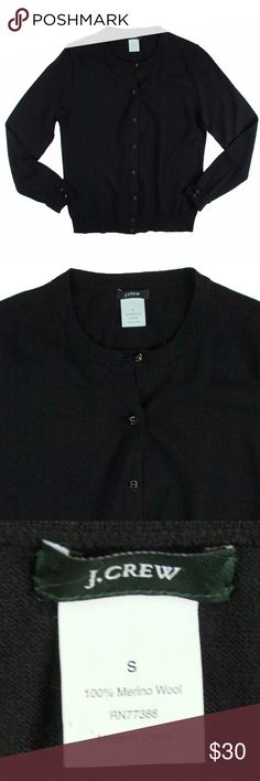 """JCREW Black Merino Wool Cardigan Sweater Excellent condition! This black merino wool cardigan sweater from JCREW features button closures and cropped sleeves. Made of 100% merino wool. Measures: Bust: 35"""", total length: 22"""", sleeves: 22.5"""" J. Crew Sweaters Cardigans"""