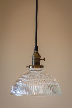 Pendant Light Fixture: Glass Ribbed Dome by OldeBrickLighting