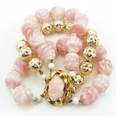 Vintage Pink Gold Art Glass Bracelet from luckyladyvintage on Ruby Lane