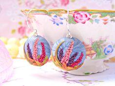 Spring Earrings Blue Pink Polymer Clay Earrings by Sweetystuff