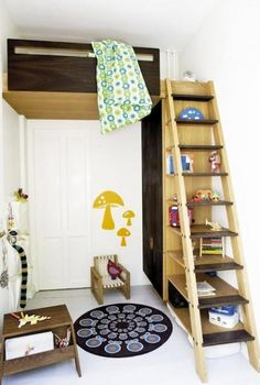 repurposed ladder bookcase storage with kids loft bed.Awesome for a SMALL bedroom!