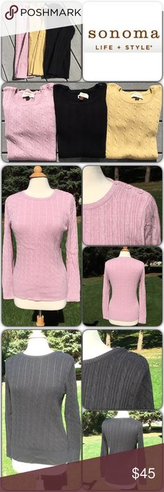 Bundle of 3 Sonoma Cable Knit Sweaters Excellent condition with no signs of wear (may have been worn once, if that). Colors are blush pink, black and a mustard-y yellow. All 3 are Mediums and are 100% cotton. Each sweater has 3 decorative buttons on left shoulder. Sonoma Sweaters