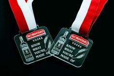 Medals - Sobieski Vodka Medals with transparent plexiglass engraved and Red laminate engraving .