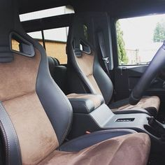 T40s seats trimmed in half nappa leather, half brogue Alcantara. Injecting a little elegance into the Defender! #TwistedDefender #Interior #Interiors #InteriorShot #Alcantara #Defender #LandRover #LandRoverDefender #Style #Details #Handmade #Handcrafted #Yorkshire #BestOfBritish #Iconic #ModernClassic #Modified #Customised #4x4