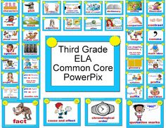 First Grade ELA Power Pix with CommonCore Standards from WBT with Scrapbunny Whole Brain Teaching, Teaching Reading, Teaching Tools, Teaching Ideas, Reading Lessons, Common Core Ela, Common Core Reading, Common Core Standards, 3rd Grade Writing
