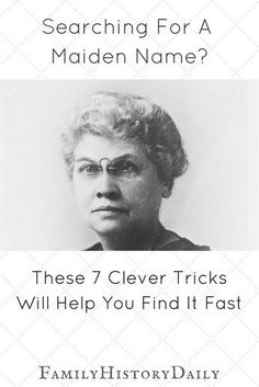 These are great tips! Is your genealogy research stalled over a missing maiden name? Find what you need to move your ancestry research forward with these clever tips. Free Genealogy Sites, Genealogy Search, Genealogy Humor, Genealogy Chart, Family Genealogy, Genealogy Forms, Family Tree Research, Genealogy Organization, Family History