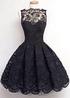 Fashion Black Sleeveless Lace A Line Dress