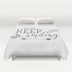 Keep smiling Duvet Cover typography black by MonochromeStudio