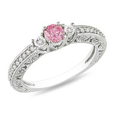 1/2 CT. T.W. Enhanced Pink and White Diamond Three Stone Engagement Ring in 14K White Gold - Gordon's Jewelers
