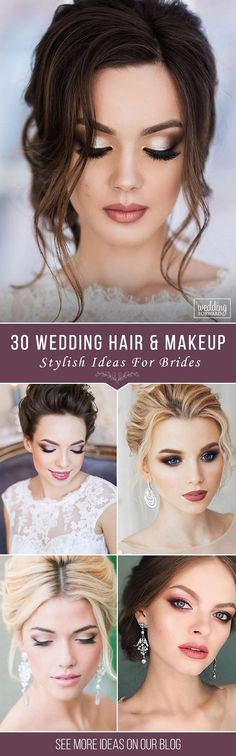 30 Stylish Wedding Hair And Makeup Ideas ❤ If you're looking for stylish wedding hair and makeup ideas our collection'll help you to choose the best look. We gathered different styles and mixed them. See more: http://www.weddingforward.com/wedding-hair-and-makeup/ #wedding #bride #weddinghairandmakeup