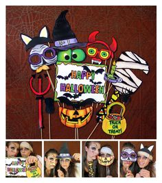 creepy Halloween photo booth props - perfect for your Halloween bash or your scary party. $14.99, via Etsy.