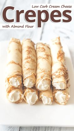 """The best foolproof keto crepes recipe! These paleo, gluten-free crepes with almond flour taste just like real ones, and they will bend, roll and fold without breaking."" Low Carb Almond Flour Cream Cheese Crepes - You must try this recipe. Low Carb Keto, Low Carb Recipes, Diet Recipes, Cooking Recipes, Pancake Recipes, Waffle Recipes, Steak Recipes, Breakfast Recipes, Sugar Free Nutella"