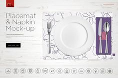 Placemat and Napkin Mock-up by mesmeriseme.pro on @creativemarket