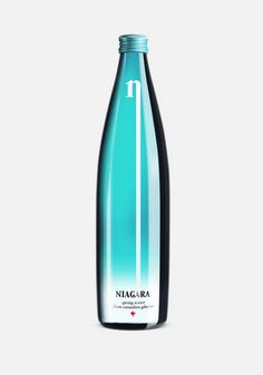 """Hattomonkey has created the packaging design of mineral water """"Niagara"""". The brand mark looks like waterfall – inexhaustible stream of pure water. The solution is simple and laconic, which is to underline the natural characteristic of the product. Water Packaging, Beverage Packaging, Bottle Packaging, Coffee Packaging, Food Packaging, Design Package, Agua Mineral, Verre Design, Bottle Images"""