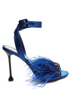 Click here to buy Miu Miu Embellished satin sandals at MATCHESFASHION.COM
