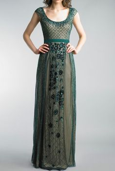 Basix Black Label Dark Green Cap Sleeve Embroidered Evening Gown | Poshare Green Gown, Fancy Schmancy, Green Fashion, Cap Sleeves, Evening Gowns, Beaded Dresses, Formal Dresses, Label, Beautiful Clothes
