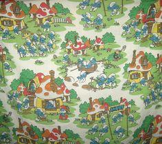 Official Smurfs Sheet Fabric Vintage Smurf Village Twin Flat Sheet Peyo 80s
