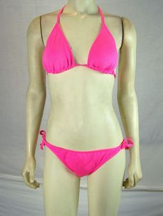 YMI Neon Pink String Bikini Top and Bottoms Set Womens Size Small 4 6 NWT NEW…