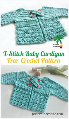 Crochet X-Stitch Baby Cardigan Free Pattern - Kid's Sweater Coat Free Patterns - order womens clothes online, cheap online women's clothing, wholesale plus size clothing *ad Crochet Baby Sweater Pattern, Crochet Baby Pants, Crochet Baby Blanket Beginner, Crochet Baby Sweaters, Baby Sweater Patterns, Baby Girl Crochet, Baby Patterns, Crochet Clothes, Baby Knitting