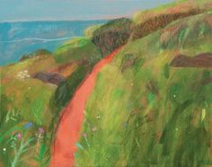 """Steep Cliff, Red Path, Blue Sea"" by Elaine Pamphilon (mixed media on canvas)"