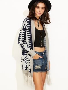 20$  Watch now - http://di0a5.justgood.pw/go.php?t=5429 - Grey Tribal Pattern Fringe Trim Open Front Cardigan