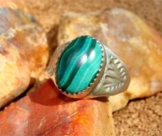 Size 9 Vintage MALACHITE Navajo Ring of STERLING by Silvercityusa, $49.00