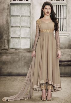 Women s Clothing - Festival Wear Chickoo Georgette Anarkali Suit - - PRODUCT Details : Style : Semi-Stitched Party Wear Long Anarkali SuitDefault Size : Free Size