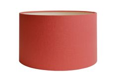 Coral Linen Drum printed linen lampshade in Copper & Silk's Cylinder Drum shape, covered with Irish linen. Printed Linen, Lampshades, Light Decorations, Drums, Irish, Copper, Coral, English, Shapes