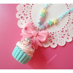 Fairy Kei Cute Pastel Mint Cupcake with Whiped cream, Pink Bow and... ($15) ❤ liked on Polyvore