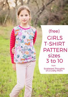 Free Girls T-shirt Sewing Pattern, sz 3 to 10