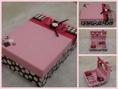 Caja de costura rosa madera Decoupage mano por CLVLArtsBrazil, $40.00