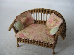 Quarter scale miniature wicker loveseat by CherylHubbardMinis on Etsy Cream Flowers, Pink Silk, Dusty Pink, Rocking Chair, Cheryl, Seat Cushions, Wicker, Love Seat, Hand Weaving