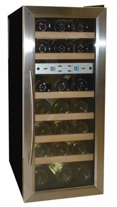 Vinotemp VT-21TEDS Thermo-Electric Digital Dual-Zone 21-Bottle Wine Chiller, Black and Stainless by Vinotemp. $369.00. Vinotemp VT-21TEDS Thermo Electric Digital Black w/Stainless Steel trim Dual Zone (21) Bottle wine cooler.  The new Vinotemp 21 wine cooler allows you to accurately control the temperature of your wine with two zones for red and white wine that can be set individually.  With the innovative thermo-electric cooling system, which involves very few moving par...