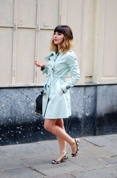 love the color of this trench ~ a gorgeous cross between robin's egg blue & mint