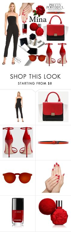 """""""Untitled #52"""" by mina-al-wiswassi ❤ liked on Polyvore featuring Black Halo, Post-It, WithChic, Gucci, Haider Ackermann, Illesteva, Piggy Paint, Chanel and H&M"""