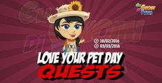 Love Your Pet Day Quests  Inizio previsto per il 18/02/2016 alle ore 13:30 circa Scadenza il 03/03/2016 alle ore 19:00 circa  Hey Contadino! Hai un animale domestico? Se non ce lhai ti dirò perchè gli animali domestici sono dei meravigliosi amici per la vita! Oggi è il giorno di dimostrare un po di amore in più per i tuoi animali!    Mancano 16 giorni 6 ore 41 minuti 35 secondi alla scadenza della quest!    Quest #1  Fatti mandare dai tuoi vicini 7 Pet Shampoo; con gli sconti SmartQuest…