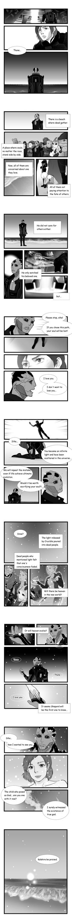 Synthesis snow-Credit: necthassak on DeviantArt  Note: (I always had some dissatisfaction toward ending of ME3. It is Synthesis end in Shep which one of the inside performs Thane and a romance of. I wanted two people to find happiness and drew this fan comic.)