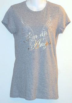 Victoria's Secret I'M AN ANGEL T-Shirt Crystal Wings sz L Gray Jersey Top #VictoriasSecret #EmbellishedTee