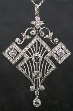 Art Deco Diamond Pendant 1920's, Art Deco Design Inspiration for figure skating dresses- Sk8 Gr8 Designs