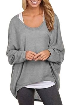 PinkWind Womens Batwing Sleeve Plus Size Hi Lo T Shirt Blouse Tops Solid Grey 3XL ** Details can be found by clicking on the image.Note:It is affiliate link to Amazon. #followbackteam