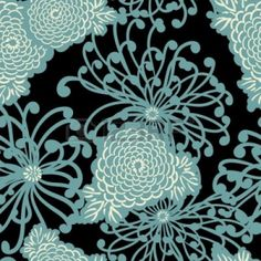pretty blue and black floral pattern print