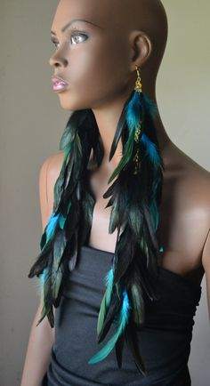 Extra Long Turquoise and Black Feather Earrings by MarcieRoxx, $65.00