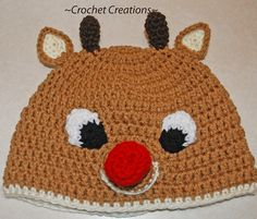 Ravelry: Crochet Rudolph Reindeer Child Hat pattern by Amy Lehman  cute for dressing up at xmas