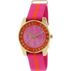 Iconic designer Michael Kors is one of the top names in American fashion, with fashion forward styles and bold designs. This women's watch from the Ryland collection features a pink nylon strap and pink dial.
