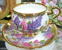 "lilac teacup..oh for love! Does anyone know the maker and if it is ""Bone"" or ""fine Porcelain?"