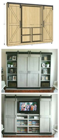 DIY Entertainment Center Ideas and Designs For Your New Home Barn door, built it, hidden entertainment center. Would be great for a bedroom.Barn door, built it, hidden entertainment center. Would be great for a bedroom. House Design, New Homes, Decor, House, Home, Home Diy, Furniture Plans, Barn Door Entertainment Center, Home Decor